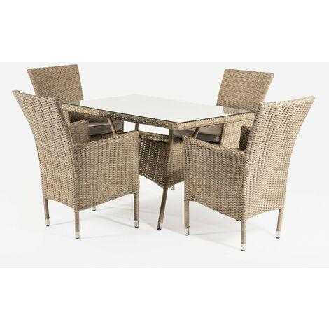 Conjunto muebles jardín | Mesa 120x70x74 cm y 4 sillones apilables | Aluminio y rattán sintético plano color natural | 4 plazas | Cristal templado 5 mm | Portes gratis - Natural-plano