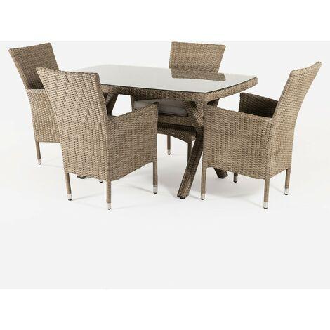 Conjunto muebles jardín | Mesa 140x80 cm y 4 sillones apilables | Aluminio y rattán sintético plano color natural | 4 plazas | Cristal templado 5 mm | Portes gratis - Natural-plano