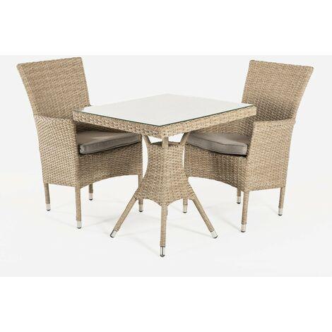 Conjunto muebles jardín   Mesa cuadrada 70 cm y 2 sillones apilables   Aluminio y rattán sintético plano