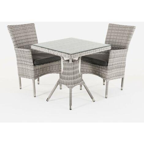 Conjunto muebles jardín | Mesa cuadrada 70 cm y 2 sillones apilables | Aluminio y rattán sintético plano color gris | 2 plazas | Cristal templado 5 mm | Portes gratis - Gris-plano