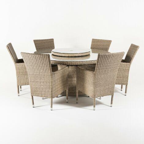 Conjunto muebles jardín | Mesa redonda 150 cm y 6 sillones apilables | Aluminio y rattán sintético plano color natural | 6 plazas | Cristal templado 5 mm | Portes gratis - Natural-plano