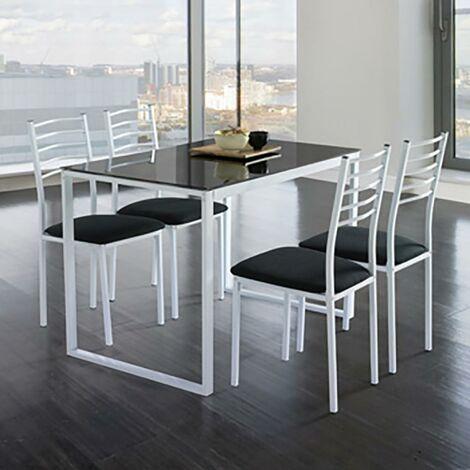 Conjunto Noa de mesa de cocina + 4 sillas cristal