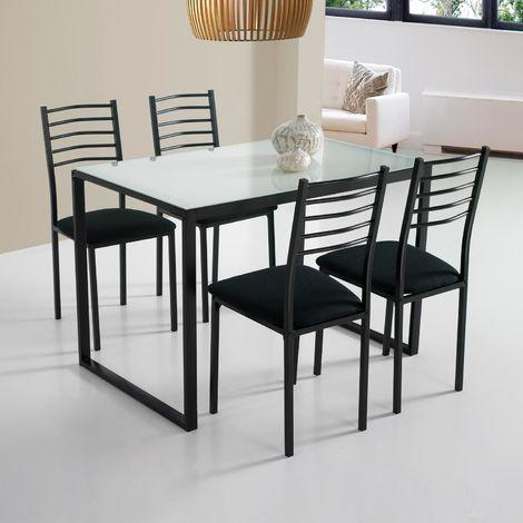 Conjunto Noa de mesa + 4 sillas cristal blanco - 7010170192