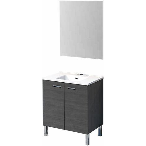 Conjunto Ona de mueble de baño con espejo y lavamanos cerámico, de dos puertas, color roble ceniza, 60 x 46 x 82.