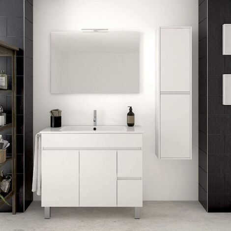 Conjunto para cuarto de baño VIDAR: Mueble de baño, lavabo, espejo y columna auxiliar ¡¡Con toallero de regalo!! EN BLANCO 80CM