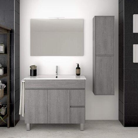 Conjunto para cuarto de baño VIDAR: Mueble de baño, lavabo, espejo y columna auxiliar ¡¡Con toallero de regalo!! EN GRIS CENIZA 100CM