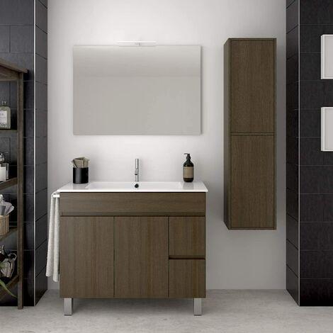 Conjunto para cuarto de baño VIDAR: Mueble de baño, lavabo, espejo y columna auxiliar ¡¡Con toallero de regalo!! EN MARRÓN 100CM