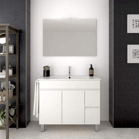 Conjunto para cuarto de baño VIDAR: Mueble de baño, lavabo y espejo ¡¡Con toallero de regalo!! EN BLANCO 100CM