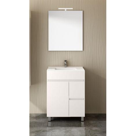 Conjunto para cuarto de baño VIDAR: Mueble de baño, lavabo y espejo ¡¡Con toallero de regalo!! EN BLANCO 60Cm