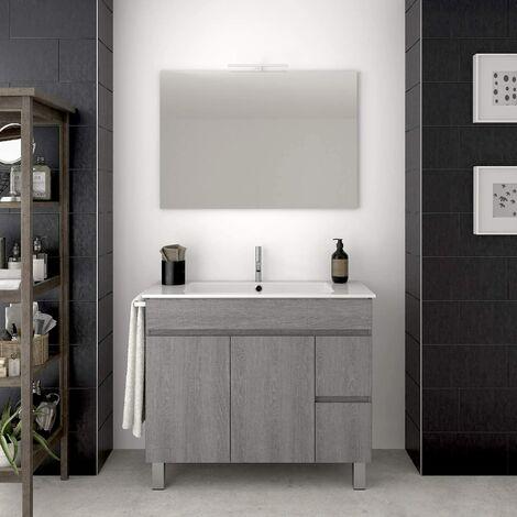 Conjunto para cuarto de baño VIDAR: Mueble de baño, lavabo y espejo ¡¡Con toallero de regalo!! EN GRIS CENIZA 100CM