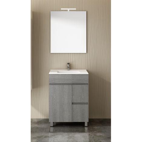 Conjunto para cuarto de baño VIDAR: Mueble de baño, lavabo y espejo ¡¡Con toallero de regalo!! EN GRIS CENIZA 60Cm