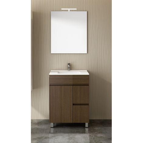 Conjunto para cuarto de baño VIDAR: Mueble de baño, lavabo y espejo ¡¡Con toallero de regalo!! EN MARRÓN 60Cm