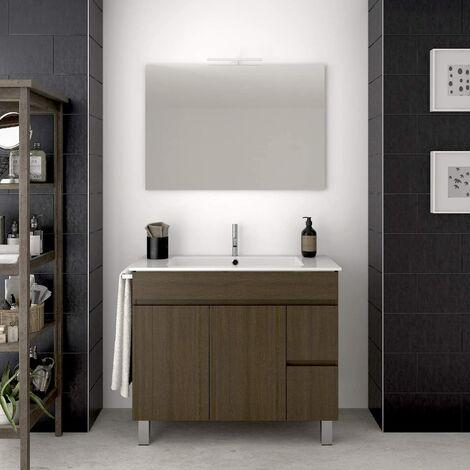 Conjunto para cuarto de baño VIDAR: Mueble de baño, lavabo y espejo ¡¡Con toallero de regalo!! EN MARRÓN 80CM