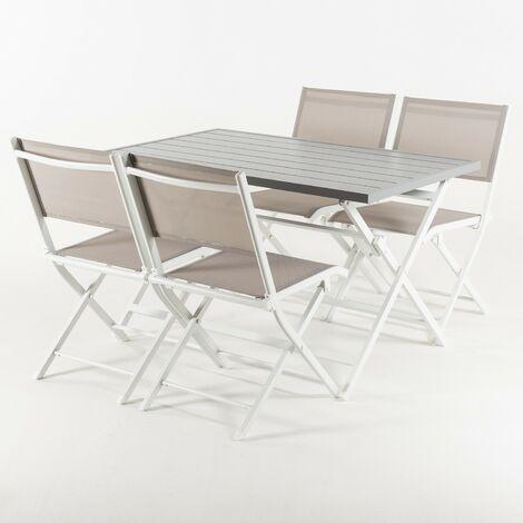 Conjunto para exterior, Mesa plegable 120 cm y 4 sillas plegables, Aluminio blanco, Textilene color taup