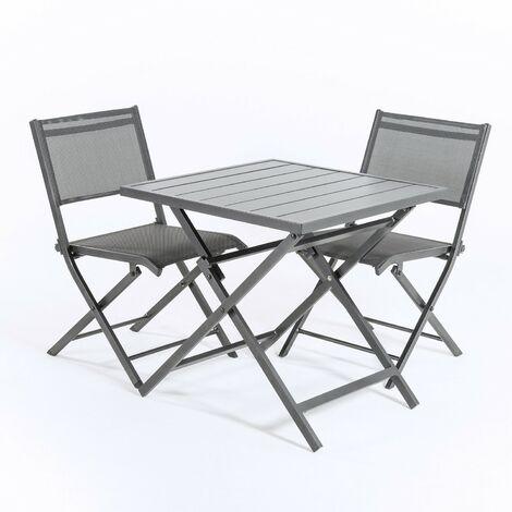 Conjunto para exterior, Mesa plegable 70 cm y 2 sillas plegables, Aluminio blanco, Textilene color plata y negro, 2 plazas