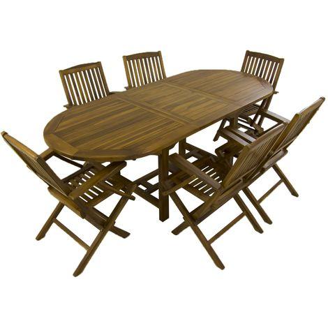 Conjunto para jardín de madera teca | Mesa ovalada extensible 160/210 cm y 6 sillones plegables | Madera teca grado A | Tratamiento al agua aplicado | Portes gratis