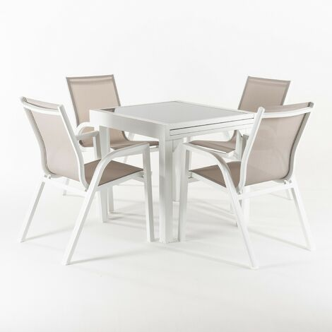 Conjunto para jardín   Mesa extensible 80/160 cm y 4 sillones apilables   Aluminio blanco   Textilene taupé   4 plazas   Portes gratis