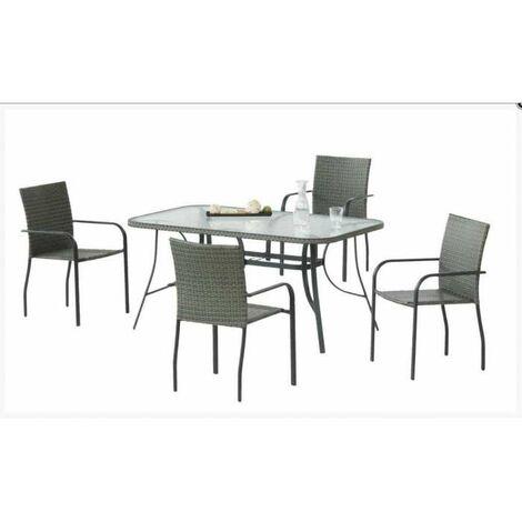 Conjunto para jardin , terraza mesa + 4 sillones Carballo-150/4 en acabado antracita Color gris antracita