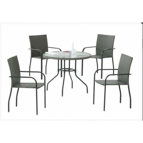 Conjunto para jardin , terraza mesa + 4 sillones Carballo-90/4 en acabado antracita Color gris antracita