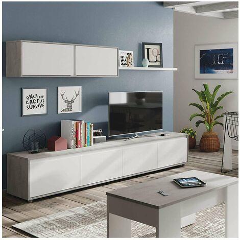 Conjunto para salón Alida 43 cm(alto)200cm(ancho)41 cm(largo) Color blanco/cemento