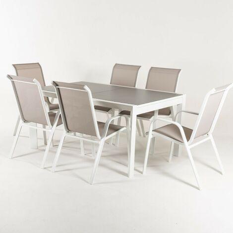 Conjunto para terraza   Mesa extensible 160/210 y 6 sillones apilables   Aluminio reforzado blanco   Textilene taupé jaspeado   6 plazas   Portes gratis