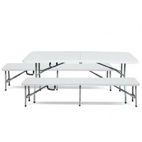 Conjunto Plegable Mesa con 2 Bancos de 180cm Blancos Catering GH91