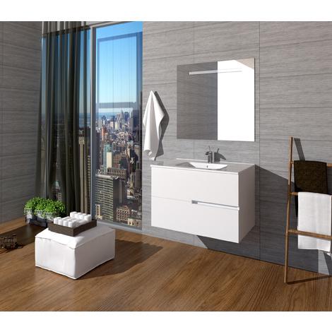 Conjunto Quim de mueble de baño con espejo y lavamanos cerámico, de dos cajones, color blanco mate, 80 x 56 x 46.