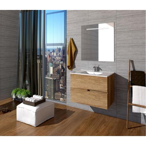 Conjunto Quim de mueble de baño con espejo y lavamanos cerámico, de dos cajones, color roble natural, 70 x 56 x 46.