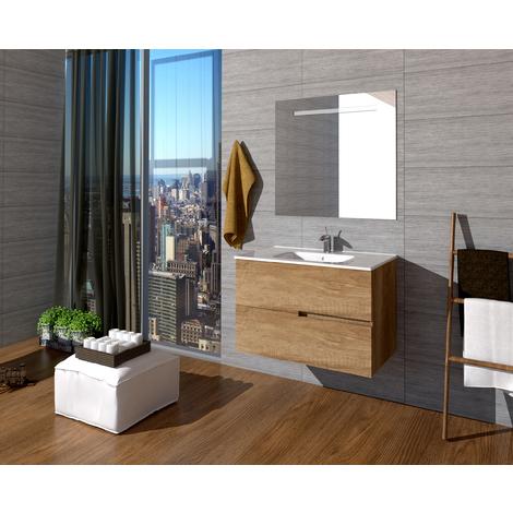 Conjunto Quim de mueble de baño con espejo y lavamanos cerámico, de dos cajones, color roble natural, 80 x 56 x 46.