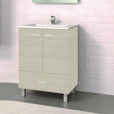 Conjunto RAKI, Mueble de lavabo 60cm y espejo Taiga