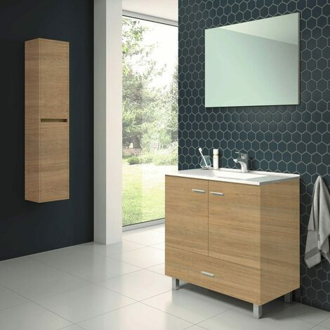 Conjunto RAKI, Mueble de lavabo 80cm, espejo y columna