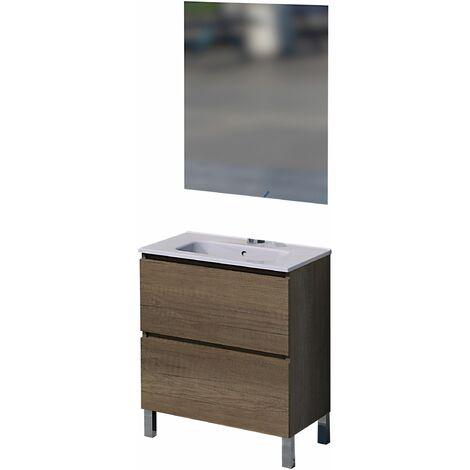 Conjunto Rita de mueble de baño con espejo y lavamanos cerámico, de una puerta y un cajón, color roble gris, 60 x 46 x 82.