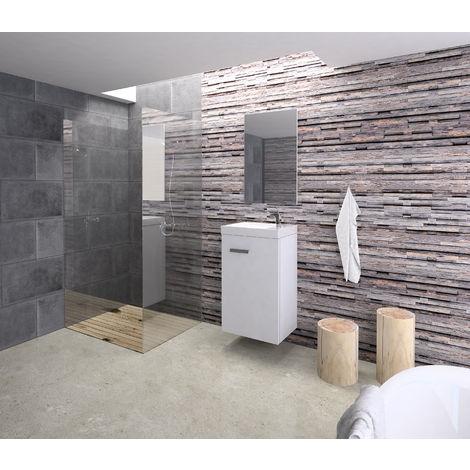 Conjunto Rubi de mueble de baño con espejo y lavamanos cerámico, de una puerta, color blanco, 40 x 65 x 20cm.
