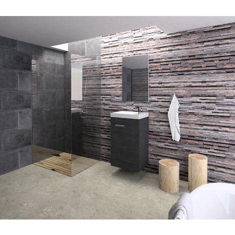 Conjunto Rubi de mueble de baño con espejo y lavamanos cerámico, de una puerta, color gris ceniza, 40 x 65 x 20cm.