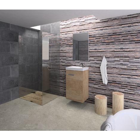 Conjunto Rubi de mueble de baño con espejo y lavamanos cerámico, de una puerta, color nature, 40 x 65 x 20cm.