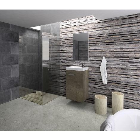 Conjunto Rubi de mueble de baño con espejo y lavamanos cerámico, de una puerta, color nebraska, 40 x 65 x 20cm.