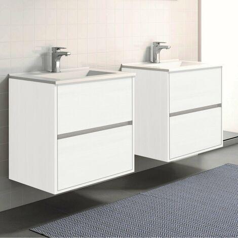 Conjunto SADO, 2 Muebles de lavabo 60cm, columna, espejo y aplique led