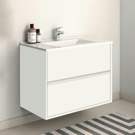 Conjunto SADO, Mueble de lavabo 80cm, espejo y columna Blanco