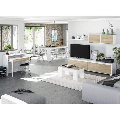 Conjunto Salón Moderno, Escritorio con Mueble salon + Estante con Mesa Comedor extensible y Mesa de Centro elevable