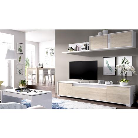 Conjunto Salon Moderno + Mesade centro Blanco Brillo y Natural, Medidas: 180x200x41 cm