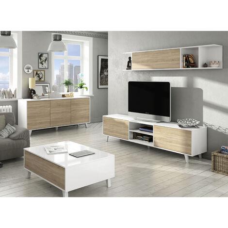 Conjunto Salón Moderno, Módulo TV + Estante con Aparador Buffet y Mesa de Centro elevable