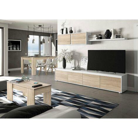 Conjunto Salón Moderno, Mueble salon + Estante con Mesa de Centro elevable y Mesa Comedor extensible