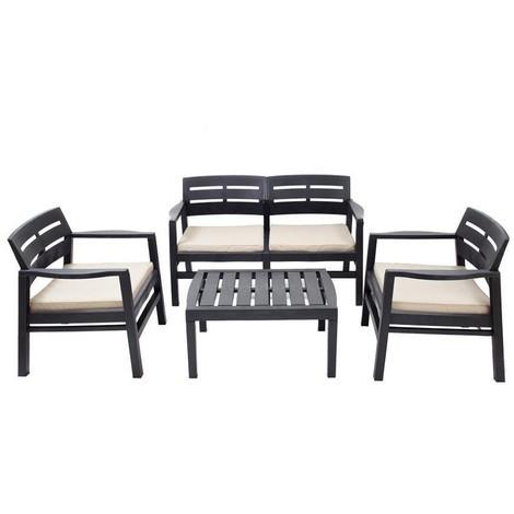 Conjunto Salon Para Interior Y Exterior: 2 Butacas. 1 Sofa De 2 Plazas Con Cojines Y Mesita (Solo Uso Domestico) - NEOFERR