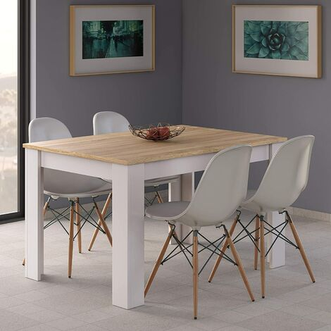 Conjunto Sillas con Mesa de Comedor Extensible, , Medidas: 140-190 cm (Largo) x 90 cm (Ancho) x 78 cm (Alto)