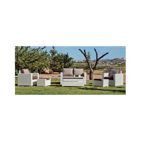 Conjunto sofa 2 plazas + 2 sillones con cojin + mesa centro para jardin terraza Tuscan-7 en acabado blanco