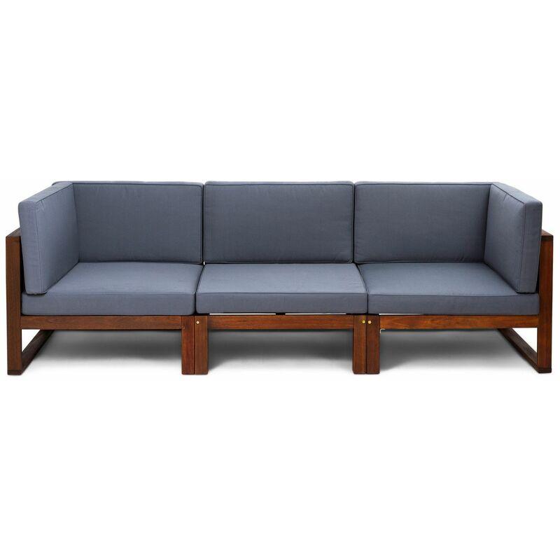 e73e8149 Conjunto sofá 3 módulos de jardín Camberra de madera de eucalipto FSC, con  cojines de poliéster grises - 4999100100224L - 8434826100224