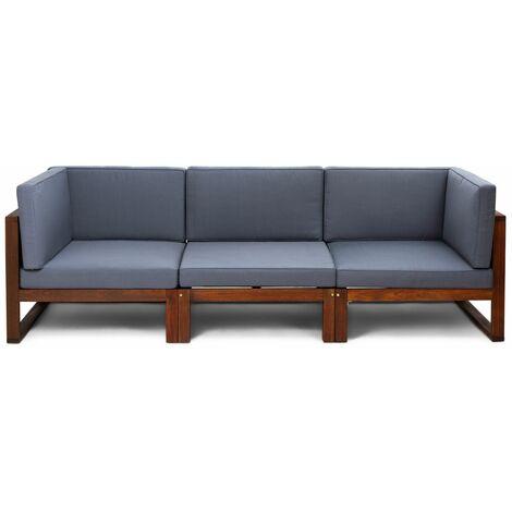 e1ce4597 Conjunto sofá 3 módulos de jardín Camberra de madera de eucalipto FSC, con  cojines de