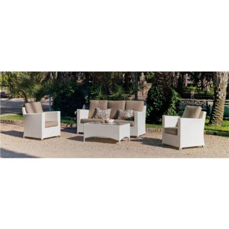 Conjunto sofa 3 plazas + 2 sillones con cojin + mesa centro jardin terraza Yansi-8 en acabado blanco