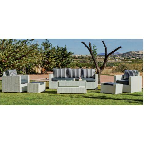 Conjunto sofa 3 plazas + 2 sillones con cojin + mesa centro para jardin terraza Tuscan-8 en acabado blanco