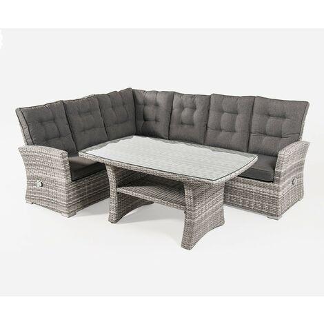 Conjunto sofás de Exterior esquinero con Mesa Centro | Esquinas reclinables |